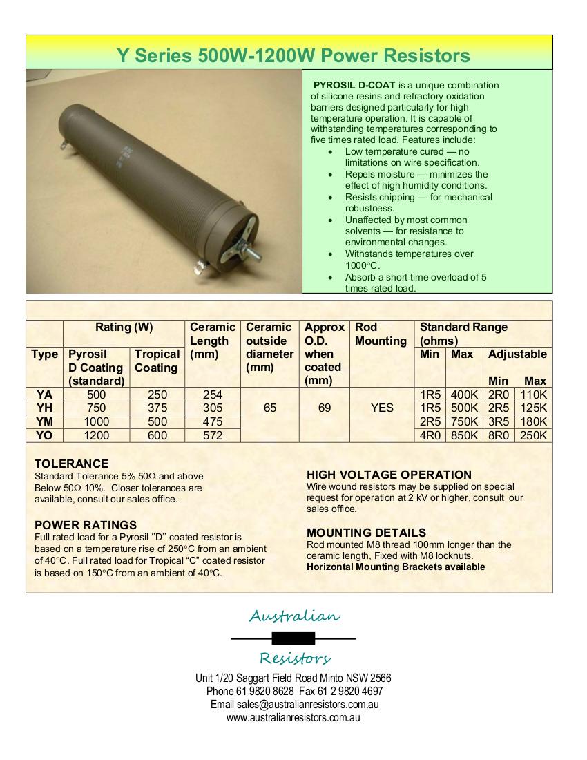 Y series 500-1200W resistors data sheet